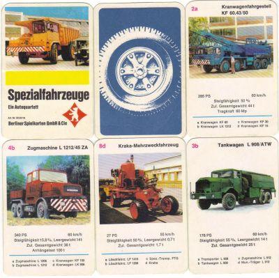 Das Berliner-Spielkarten-Quartett enthält Kranwagen, Muldenkipper, Zugmaschinen und andere Spezialfahrzeuge von Faun.