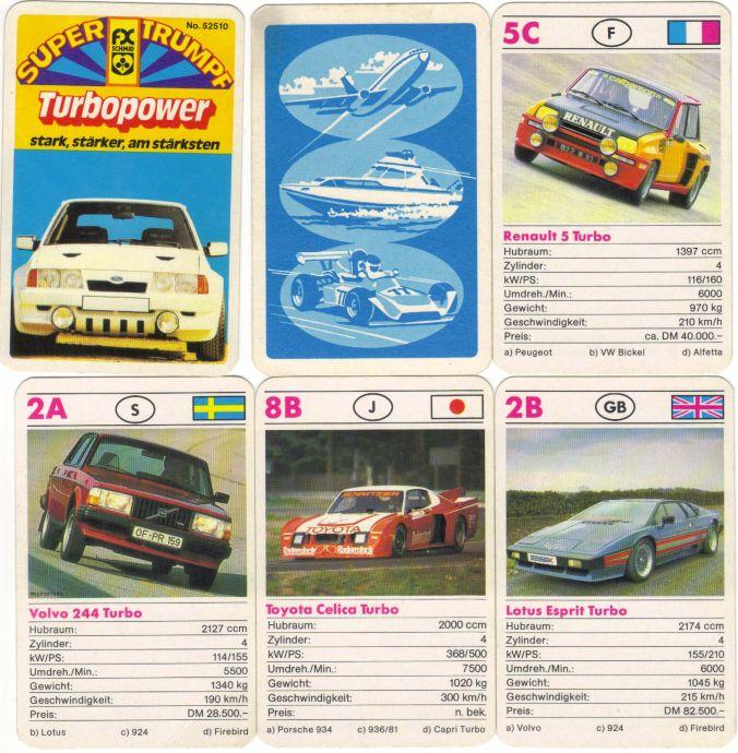 Das alte Autoquartett Turbopower von FX Schmid mit Nr. 52510 zeigt Sportwagen mit Turbomotor und Gruppe-4-Renntourenwagen wie Renault R5 Turbo, Ford Escort RS 1700 T, Volvo 244 Turbo, Lotus Esprit Turbo, Toyota Celica Turbo, Lancia Beta Montecarlo und Ford Capri Turbo.