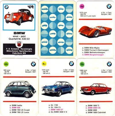 Das BMW-Autoquartett von FX Schmid Münchener Spielkartenfabriken Nr. 53022 hat einen gezeichneten BMW 528 auf dem Titel sowie BMW 1600 GT, BMW-600, Isetta, Glas V8, 503, 502, Dixi und andere auf 36 Karten.