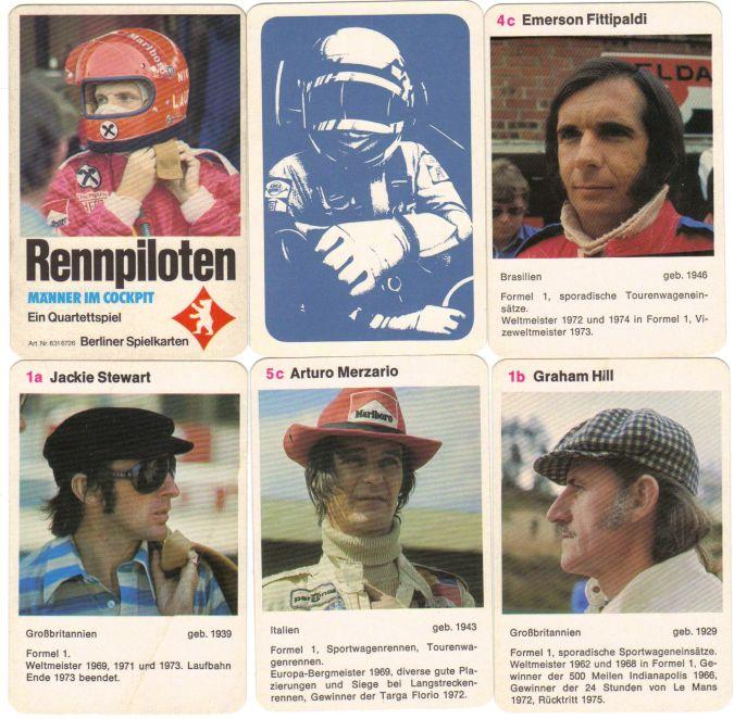 Das Berliner Spielkarten Quartett Rennpiloten – Männer im Cockpit zeigt Rennfahrer der Formel1, Le Mans, Langstreckenrennen usw wie Niki Lauda, James Hunt, Jackie Stewart, Clay Regazzoni, Emerson Fittipaldi und Graham Hill.