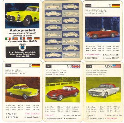 Das Autoquartett-Sportwagen mit Nr. II/86 ist das zweite Quartettspiel von FX-Schmid und hat den Maserati 3500 GT, den Jaguar E-Type, einen Ford Thunderbird und den NSU Sportprinz.