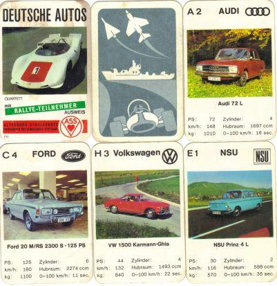 Deutsche Autos ist ein historisches ASS-Autoquartett von 1969 mit dem Porsche 910 Bergspider auf dem Deckblatt, dem Rallye-Teilnehmer-Ausweis sowie Karmann Ghia, NSU Prinz, Ford 20 M und Audi 72.