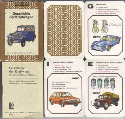 Geschichte der Kraftwagen ist das einzige DDR-Autoquartett und wurde von Pössneck herausgegeben und von der Altenburger Spielkartenfabrik Made in GDR gedruckt.