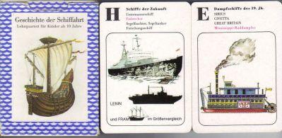 Das Pössneck-Lehrquartett Geschichte der Schiffahrt wurde in der Altenburger Spielkartenfabrik, Thüringen, DDR, hergestellt und hat 36 Quartettkarten im Pappkarton.