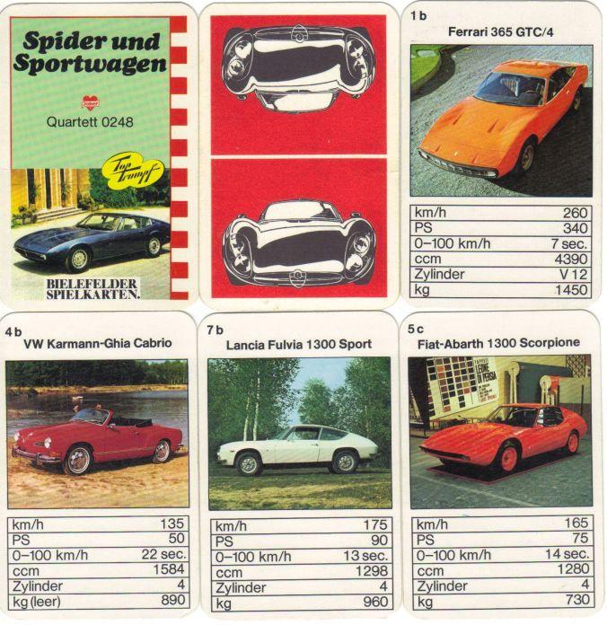"""Das seltene Autoquartett der Bielefelder Spielkarten mit Nr. 0248 """"Spider und Sportwagen"""" enthält Maseratie Ghibli, Ferrari 365 GTC und GTB, Karman Ghia, Lancia Fulvia und Jaguar E V12."""