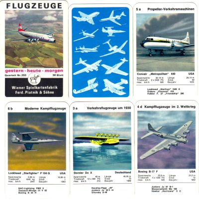 Das alte Piatnik-Flugzeugquartett gestern-heute-morgen Nr. 293 hat die Vickers-Viscount-810 auf dem Titel und enthält auch Convair, Starfighter, Boeing-B17, Dornier_Do-X Flugboot und andere alte Flieger, Jets, Jäger, Bomber und mehr.