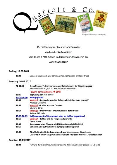 Das 15. Treffen der Sammler von Quartetten und Familienspielen findet am 15.9.2017 in Bad Neuenahr statt, das Programm umfasst Vorträge über Monteverdi und Tauschbörse
