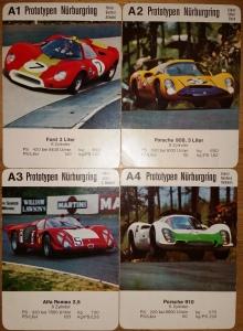 Die Rarität mit abgerundeten Ecken - ASS-Postkarten oder Jungenkalender-Karten mit Rennautos Prototypen unter A1-A4