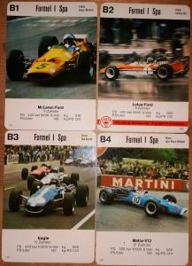 Die ASS-Jungenkalender oder Postkarten-Quartette mit Nr. 750 zeigen Formel 1 und Prototypen