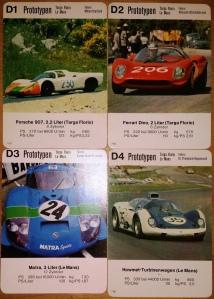 ASS-Quartettpostkarten Rennautos Prototypen D1-D4