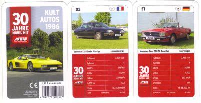 Das Autoquartett von ATU erschien zum 30. Jubiläum der A.T.U.-Werkstatt und enthält Kult-Autos von 1986 wie Ferrari Testarossa, Audi Quattro, Toyota Celica Turbo, Honda Civic CRX, Bertone X1/9, Aston Martin Lagonda Shooting Brake und mehr.