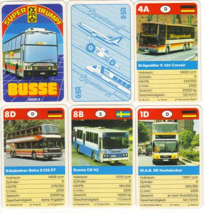 Das Supertrumpf-Quartett Busse Nr. 50066.8 von FX Schmid München enthält Reisebusse, Gelenkbusse, Doppeldecker und Linienbusse von Kässbohrer Setra Neoplan Spaceliner und Transcar.