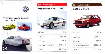 Das Volkswagen-Autoquartett 1948-2013 ist ein Werbequartett mit VW Käfer, XL1, Derby, Lupo, T1 Bulli, SP-2 Brasilia, Scirocco und mehr.