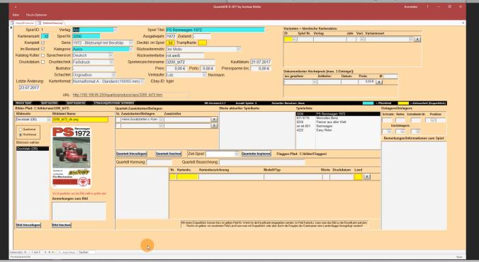 Auf der Eingabeseite der Quartett-Datenbank kann jeder Quartettsammler die Angaben für Deckblatt, Rückseite, Kartenzahl, Jahrgang etc. für jedes Autoquartett eingeben.