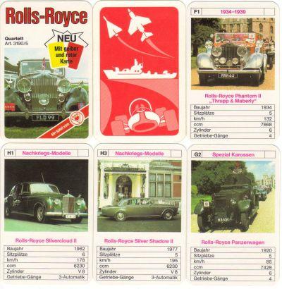 Das Rolls-Royce Autoquartett von ASS mit gelber und roter Karte trägt die Nr. 3190/5 und enthält 32 Luxuswagen der britischen Nobelmarke wie Rolls-Royce Corniche, Silver-Shadow, Phantom, Silver Cloud, Silver Mist, Ghost, Wraith.