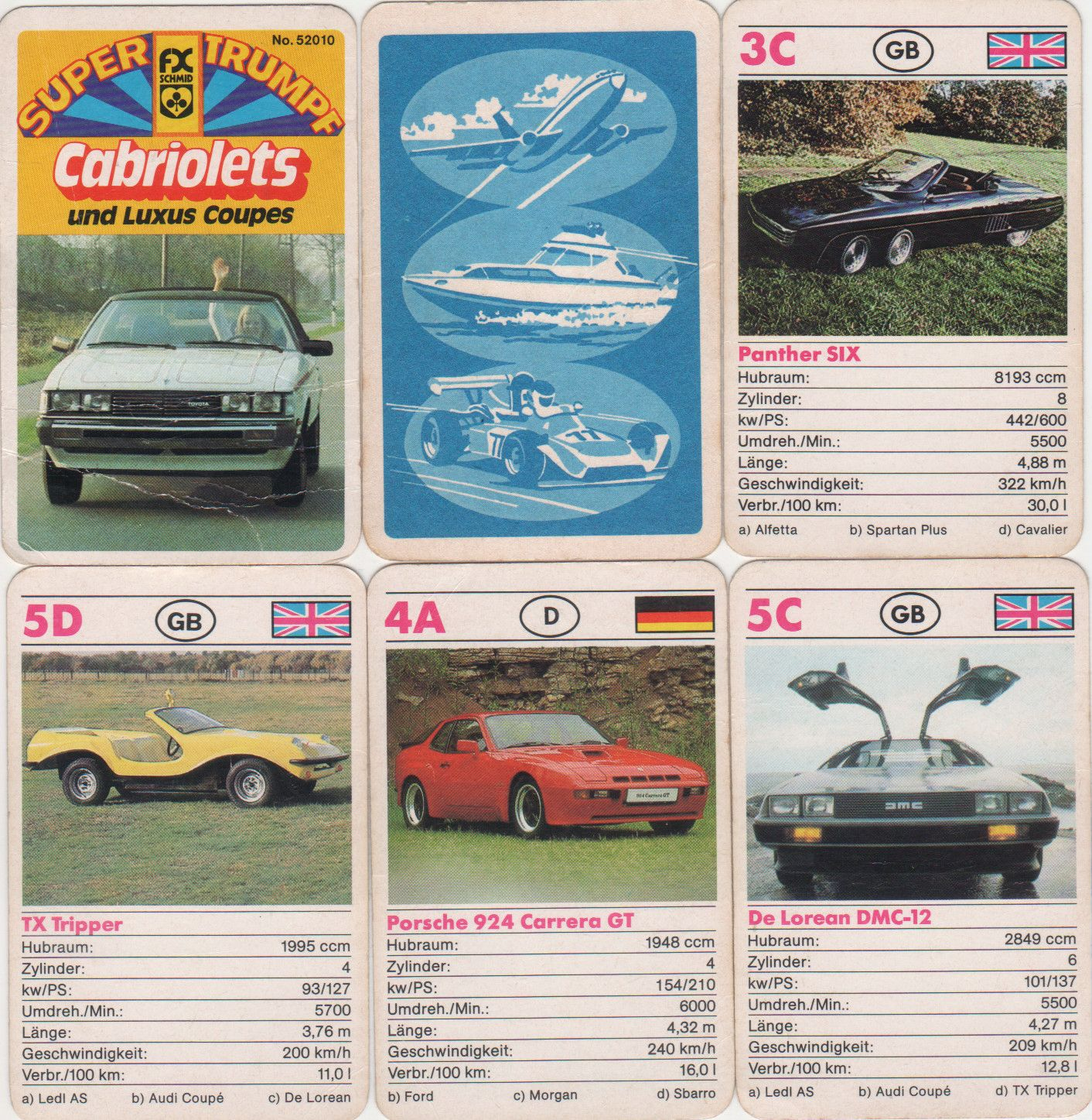 Eptingen Suisse Fxs-52010_cabriolets_und_luxus-coupes_toyota-delorean-dmc-12_panther-six_porsche-924_carrera-gt_autoquartett-24_karten