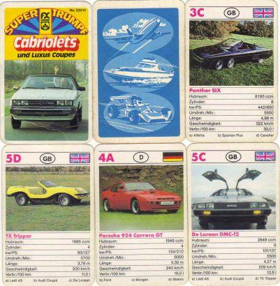 Das alte Supertrumpf-Autoquartett 52010 von FX Schmid enthält Cabriolets und Luxus Coupes auf 24 Karten, etwa DeLorean, den sechsrädrigen Panther Six, Porsche 924 Carrera GT, Alfetta GTB, Morgan Plus 8 und Golf GTI Cabrio.