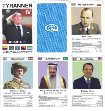 Das Tyrannen-Quartett IV von Weltquartett hat Ronald Reagan auf dem Deckblatt und weitere Hegemonen, Imperialisten und Fundamentalisten wie Nixon, von Trotha, Franz Joseph I und Hans Frank.