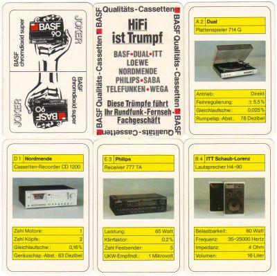 Das Quartett Hifi ist Trumpf von BASF chromdioxid Super Musikcassetten enthält Komponenten der Hifi-Anlage von BASF, Dual, ITT Schaub-Lorenz, Nordmende, Loewe, Philips, Saba, Telefunken und Wega