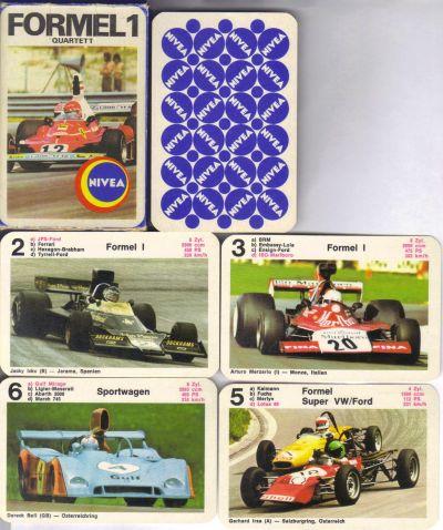 Das Nivea-Werbequartett Formel 1 zeigt 24 Rennautos im Querformat, etwa JPS-Lotus, Niki Laudas Ferrari, Gulf Mirage, den ISO-Marlboro, Fittipaldi auf Texaco-McLaren usw.
