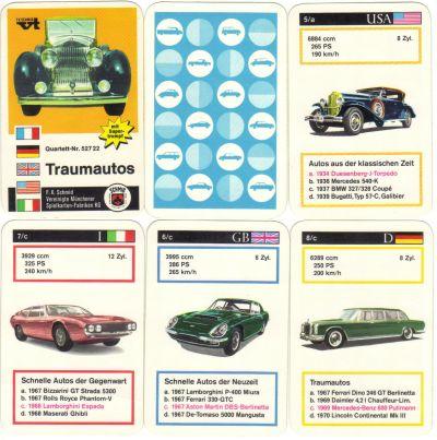 Das Traumautos-Quartett von FX Schmid München hat einen Rolls-Royce auf dem Titelblatt und zeigt Lamborghini Espada, Mercedes 600 Pullmann, Duesenberg J Torpedo und andere Oldtimer.