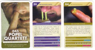 Das ekelhafte Popelquartett vom quartett.net zeigt Maurerbonbons und Nasenschleim.