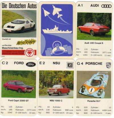 Die deutschen Autos von ASS ist ein Autoquartett mit Blitztrumpf, dass den Mercedes C 111 Wankel enthält, sowie Audi 100 Coupe, Porsche 917, Ford Capri und mehr.