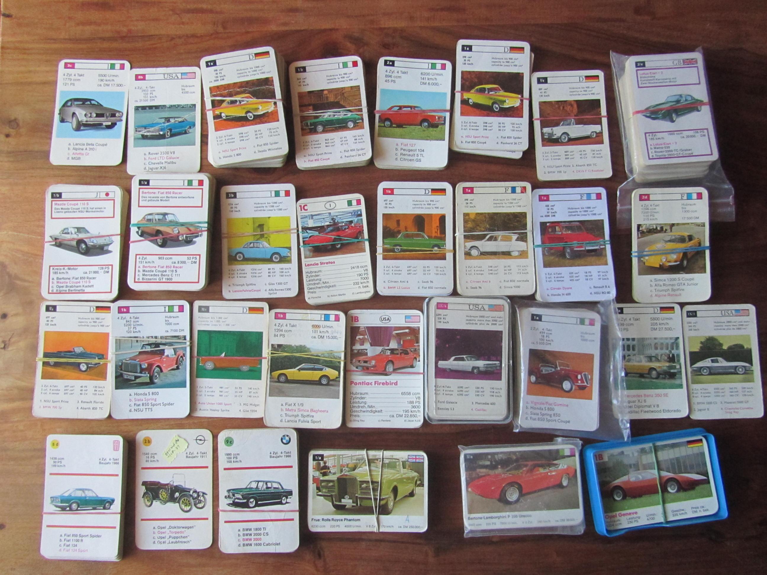 FX Schmid Einzelkarten-Service Autoquartett-Karten von Autos, Sportwagen, Superautos, Fiat einst-jetzt, BMW einst-jetzt bei ebay zum Vervollständigen