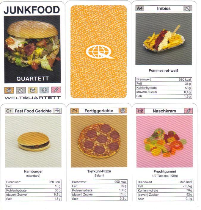 Die Tyrannenquartett-Macher haben das Junkfood-Quartett mit Hamburger, Tiefkühlpizza, Döner, Pommes, Weingummis mit Kalorien- und Zuckerangaben entwickelt.