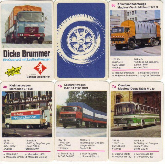 """Das Quartett mit Lastkraftwagen """"Dicke Brummer"""" von Berliner Spielkarten, Nr. 6316773, hat den Spitzentrumpf MAN 16.230 U auf dem Deckblatt, sowie Laster, Busse, Muldenkipper von Scania, Mercedes LP, DAF, Magirus-Deutz, Unimog."""