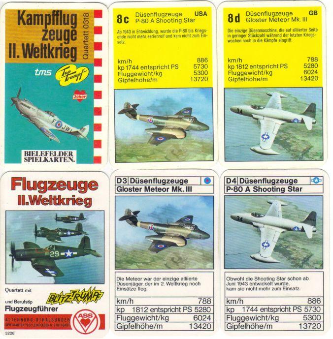 Das Flugzeugquartett 0318 von Bielefelder Spielkarten Kampfflugzeuge II. Weltkrieg (Spitfire) ist identisch mit dem ASS-MIlitärquartett Flugzeuge II Weltkrieg 3228, hat aber einen Druckfehler.