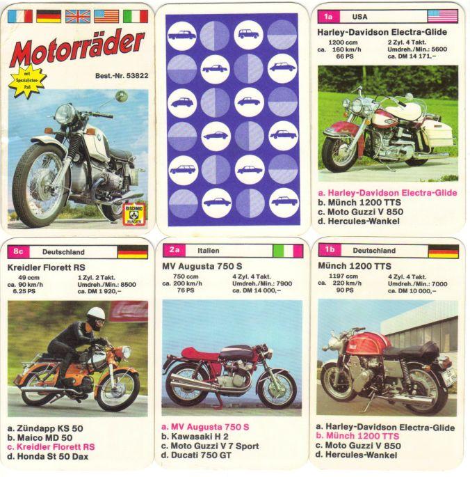 Das Motorräder-Quartett von FX Schmid München von 1973 trägt die Nummer 53822 und enthält BMW R50/5, Honda CB 500, Haley-Davidson Electra-Glide, Honda Dax, Münch 1200 TTS und MV Augusta 750 S.