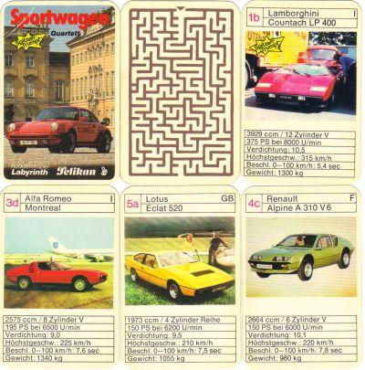 Das Pelikan Sportwagen Autoquartett mit Spitzentrumpf hat einen roten Porsche Turbo auf den Titel und enthält Lamborghini Countach, Lotus Eclat und Lotus Elan, Alfa-Romeo Montreal und Renault Alpine A310 V6, mit dem Labyrinth-Rückseitenspiel.jpg