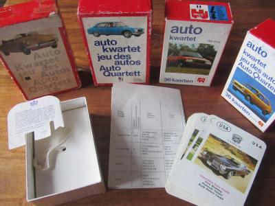 Die Jumbo-Autoquartette No.11 aus den Niederlanden/Holland haben je 36 Karten, eine Kartonbox, ein Datenblatt und z.B. Citroen ID 19, Peugeot 504, Citroen Visa und Fiat 127 auf dem Titel.