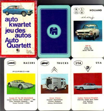 Das Auto-kwartet no 11 von Jumbo aus Amsterdam in der roten Pappbox ist die holländische Version des Piatnik-Autoquartett mit Nr. 298 - hier ist die 11e druk (11.Auflage) mit Peugeot 504, Porsche 904, Cadillac Fleetwood Brougham und DAF 55