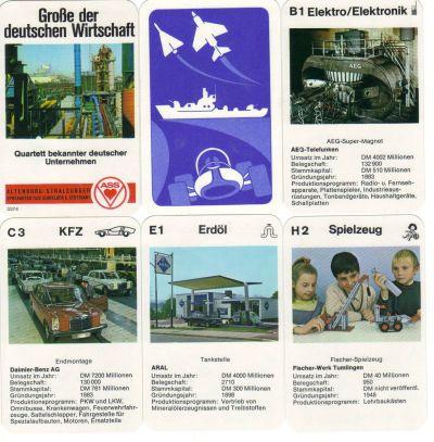 Große der deutschen Wirtschaft heißt das einzigartige Quartett-Kartenspiel von ASS, Nr. 3374 von 1970, in dem BASF, AEG, Mercedes, Fischer-Technik, Aral und Siemens gegeneinander antreten.