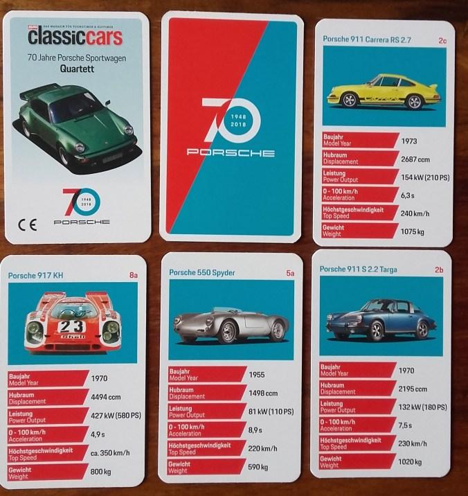 In Classic Cars - Das Magazin für Youngtimer und Oldtimer der Autozeitung ist ein Porsche-Quartett zu 70 Jahre Porsche Sportwagen als Beilage, mit POrsche Turbo, Carrera, 911, 924, 550 Spyder usw