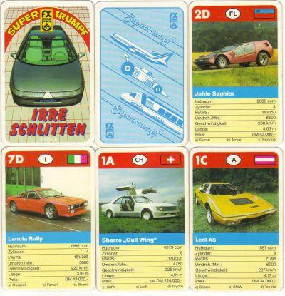 Das FX Schmid Supertrumpf Autoquartett Irre Schlitten mit Nr. 50057.6 enthält tolle 80er-Jahre Tuning-Autos mit Flügeltüren sowie Bertone-Stylingstudien und Sportwagen wie Toyota MR2, Lancia Rally, Ledl AS und Bertone Urraco.