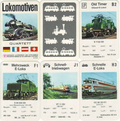 Das alte Lokomotiven-Quartett von ASS mit Nr. 675 hat 36 Karten, u.a. Adler, Rocket, TEE, Badische Lok, Britannia-Class und Gotthard-Lok.