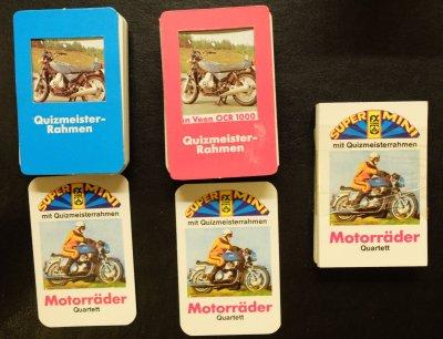 Das FX Schmid Supermini-Motorradquartett mit Quizmeisterrahmen gibt es in drei Versionen