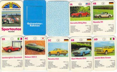 Das Supermini-Quartett für die Hosentasche von FX Schmid heißt Superautos und hat einen Quizmeisterrahmen, sowie den Porsche RSR auf dem Titel, Opel Manta GT/E, Corvette Sting Ray und Datsun 260 Z.