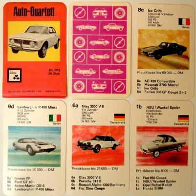 Das erste Auto-Quartett von Nürnberger Spielkarten Heinrich Schwarz NSV mit der Nummer 603 hat ein Papierdeckblatt und enthält Lamborghini Miura, Alfa Giulia und NSU Wankelspider.