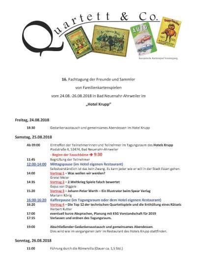 Das Programm der 16. Fachtagung der Freunde und Sammler von Quartetten und Familienkartenspielen in Bad Neuenahr-Ahrweiler