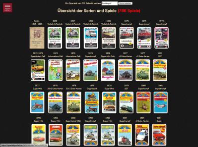 Die Übersicht der Quartettserien im Quartettportal am Beispiel von FX Schmid zeigt über 700 Spiele