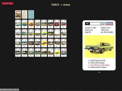 Das Autos-Quartett 52622 von 1975 des Spielverlages FX Schmid München zeigt im Mouseover den Ford Mercury der Karte 8c