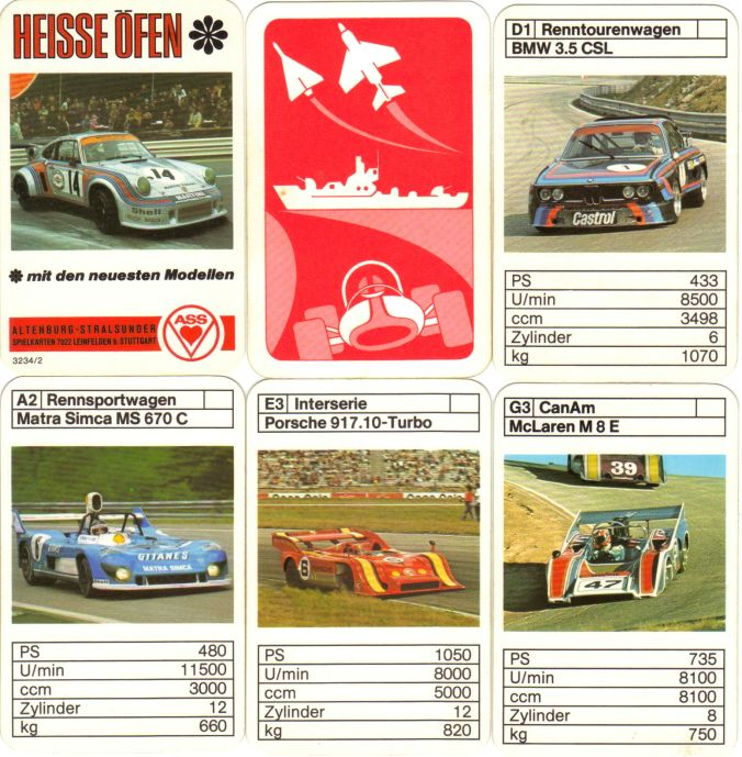 Das ASS-Quartett Heisse Öfen 3234/2 mit dem Martini-Porsche Carrera RSR Turbo enthält CanAm, Matra-Simca am Nürburging, McLaren M8, Porsche 917.10, BMW 3,5 CSL, Zakspeed-Ford Escort BDA und andere neuesten Modelle.