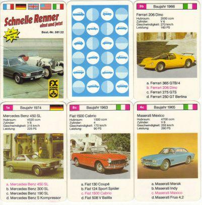 Das alte Autoquartett Schnelle Renner einst und jetzt von FX Schmid München, Nr. 59122, hat Mercedes-Benz 450 SL und S Kompressor (1927) auf dem Deckblatt und enthält u.a. BMW 507 und 328 Mille Miglia, Ferrari 275 GTS und 206 Dino, Maserati Merak und Mexico.