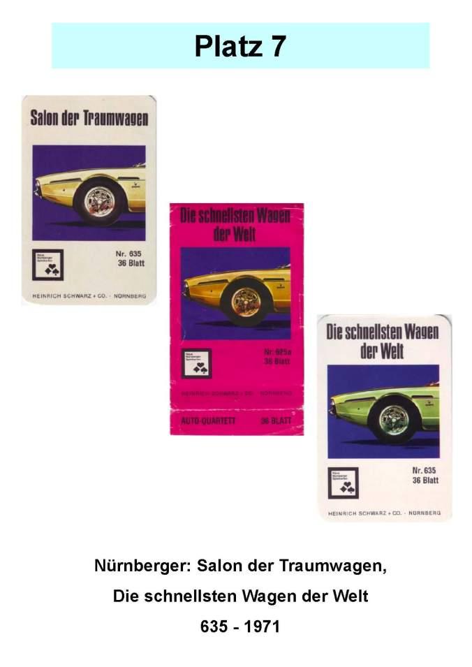 Nürnberger: Salon der Traumwagen - Die schnellsten Wagen der Welt (635) – Platz 7 der Top 12 der technischen Quartettspiele Autoquartett-Legespiel