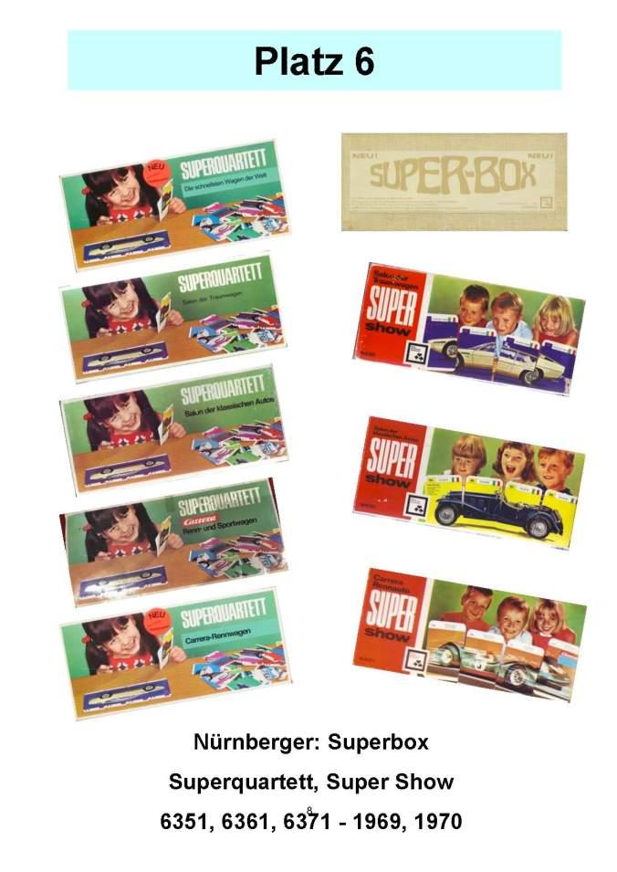 Nürnberger (NSV) Superbox (6351), Superquartett (6361), Supershow (6371) – Platz 6 der Top 12 der technischen Quartettspiele Auto-Legespiele Carrera