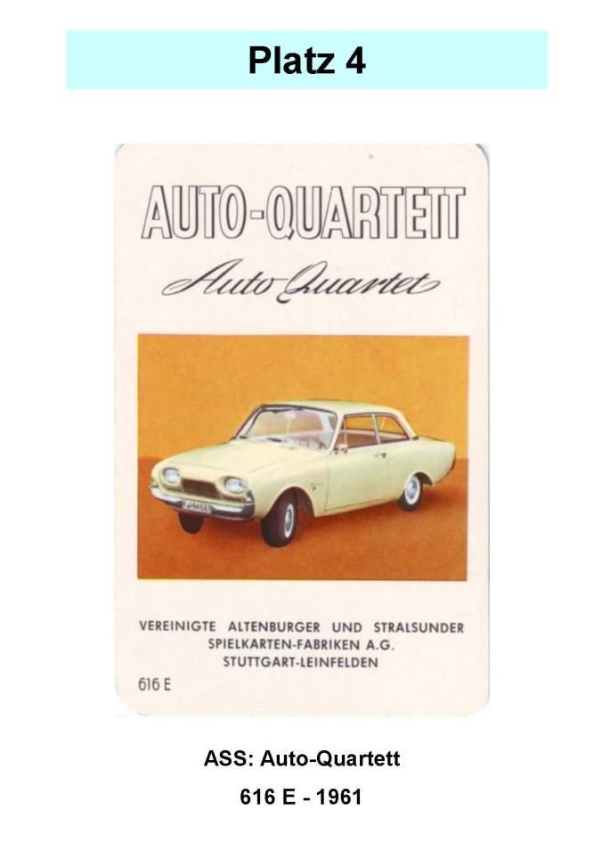 ASS Auto-Quartett 616 E Ford Badewanne – Platz 4 der Top 12 der technischen Quartettspiele sehr selten